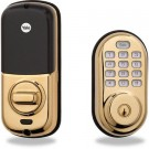 Yale YRD210 Push Button Deadbolt with Z-Wave Technology, Polished Brass
